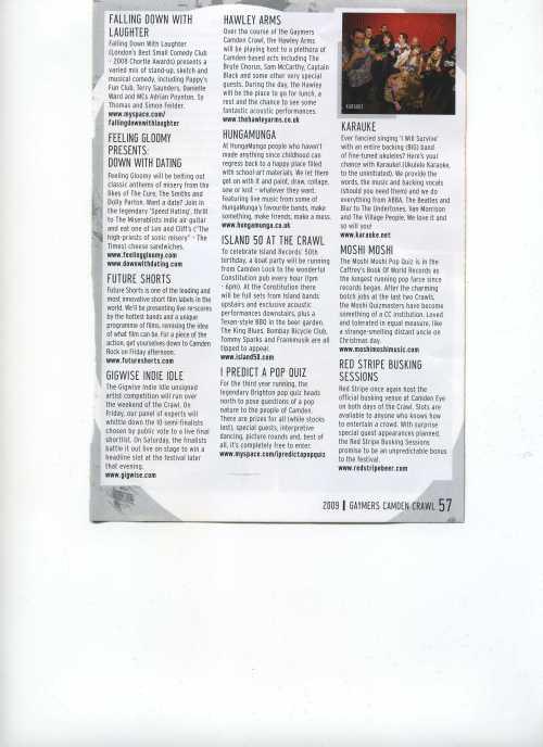 Camden Crawl 2009 Programme