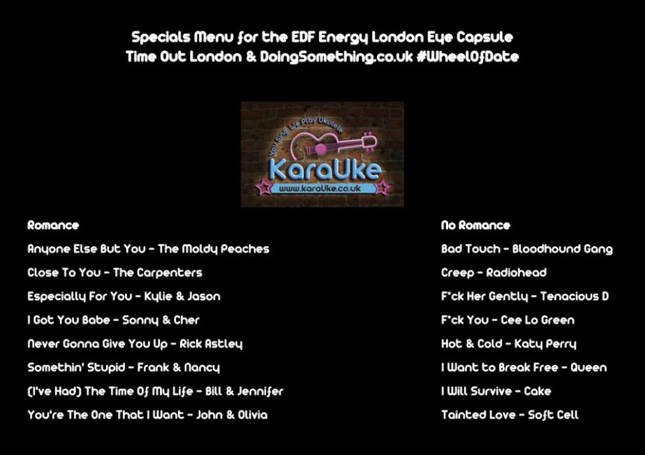 London Eye Ukulele  Karaoke Song List