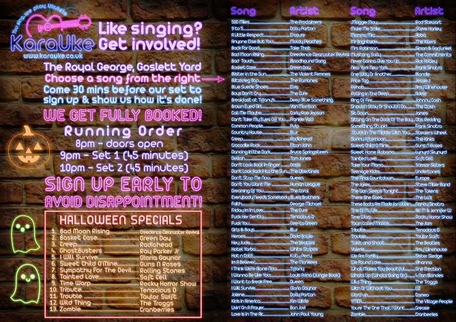 halloween karaoke song list